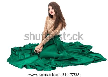 sitting women on a white background - stock photo