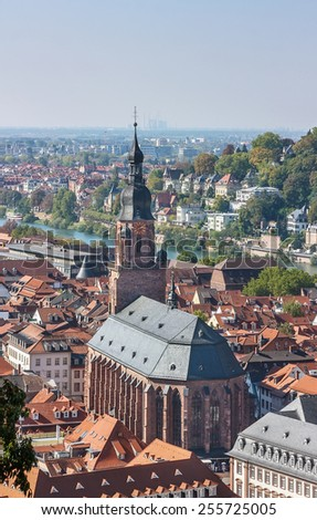 Situated on the banks of the river Neckar, Heidelberg is one of Germany most beautiful towns. Top view of the Heidelberg and Church of the Holy Spirit