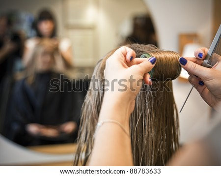 Situation in a Hair salon close-up - stock photo