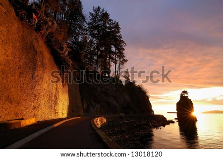 siwash rock in stanley park,vancouver - stock photo