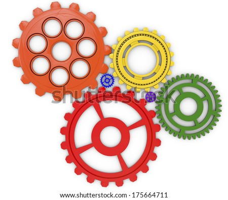 six abstract gears on white background, done in 3d - stock photo