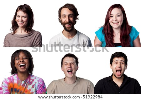 Six actors laugh out loud, all are full size images - stock photo