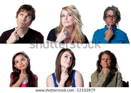 Six actors thinking about a big decision - stock photo