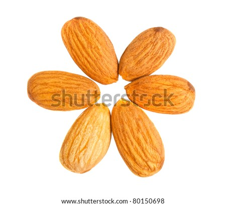 Six almond nuts out on a circle isolated on white background. Top view