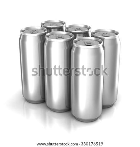 Six aluminum cans isolated on white - stock photo