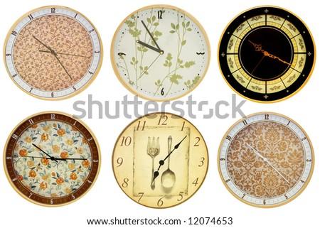 Six analog round wall clocks isolated on white - stock photo