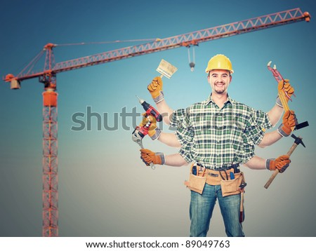 six arms handyman and crane background - stock photo