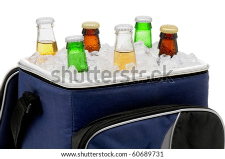 Six assorted beer bottles in a soft sided cooler or ice chest. Close up in horizontal format isolated over white.