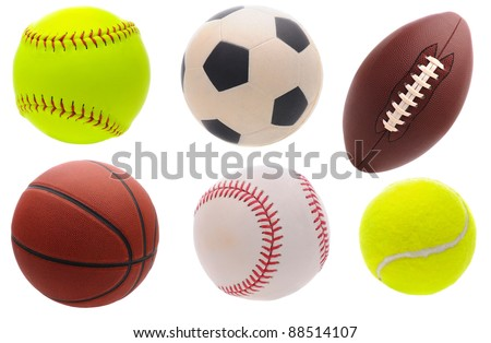 Six assorted sports balls over a white background. - stock photo