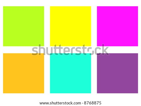 Six assorted sticky notes - stock photo