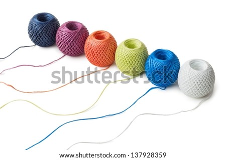 Six ball of twine on a white background - stock photo