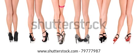 Six Beautiful Sexy Women's Long Legs in Heels - stock photo