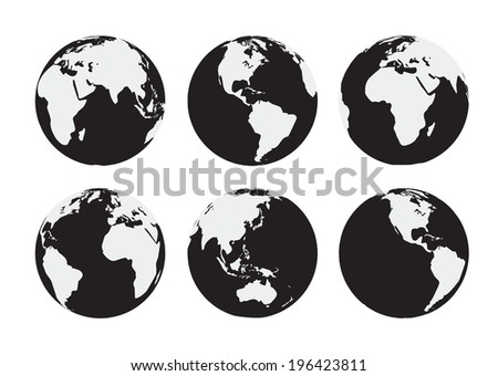 Six black and white  Earth globes. Raster version - stock photo
