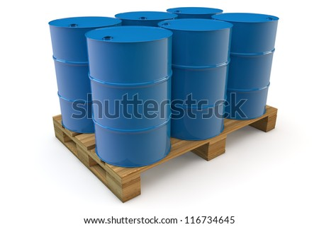 Six blue oil barrels standing on a pallet - stock photo