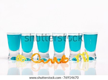 Six blue shots in a row - stock photo