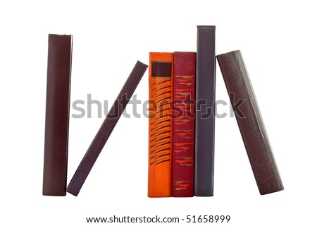 Six books isolated on white - stock photo
