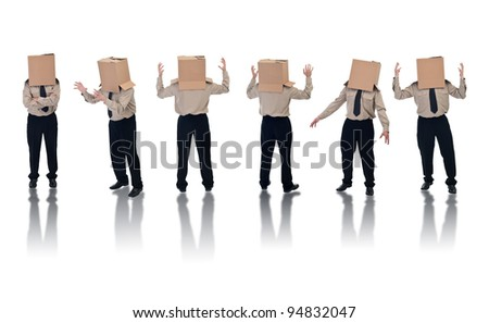 Six box headed businessman standing on white with reflection - stock photo