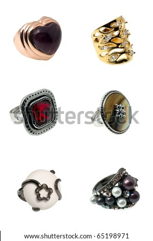 six bright colourful rings isolated on white - stock photo