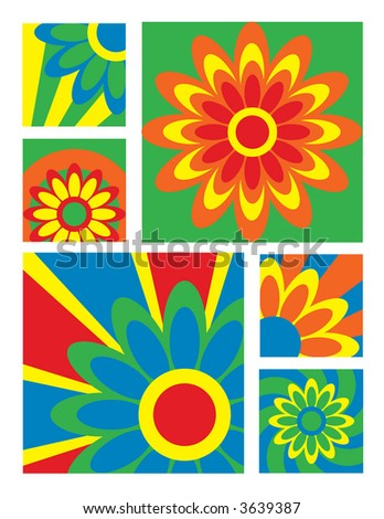 Six brightly-colored floral designs. Vector format also available.