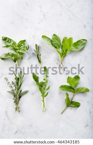 Six bunches of herbs on marble countertop: basil, spinach, rosemary, mint, thyme, rucola. From above shot