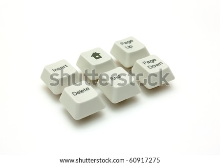 Six buttons of the keyboard isolated - stock photo