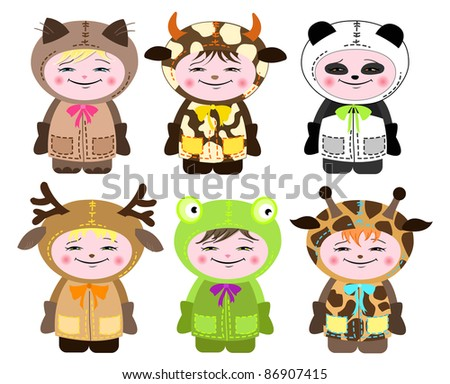 Six children in costumes of animals on white
