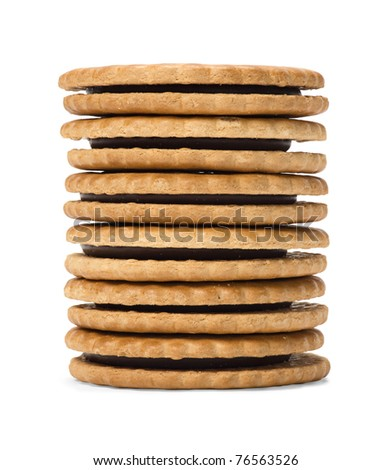 Six chocolate sandwich biscuits arranged in stack.