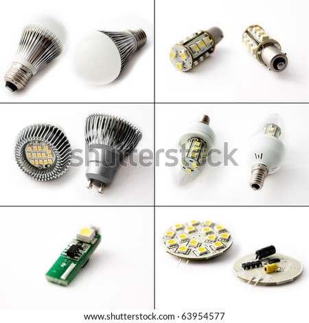 Six close-ups of LED light bulbs and LED Circuitry against a white background.