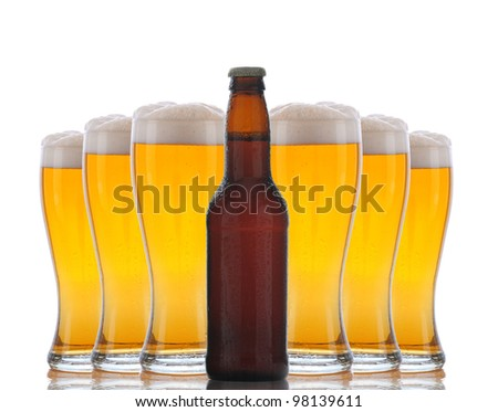 Six cold frosty glasses of beer behind brown beer bottle. Horizontal format over white with reflection. - stock photo