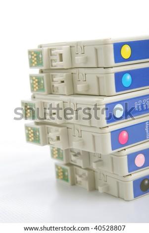 six color ink cartridge - stock photo