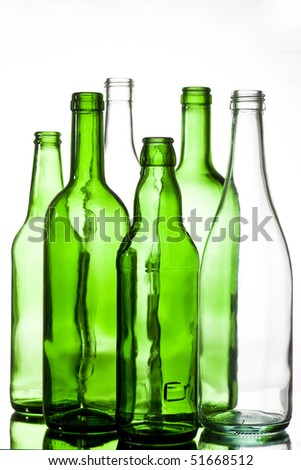 six colored glass bottles - stock photo
