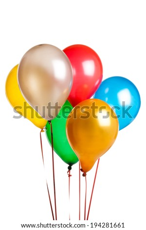 six Colored party balloons isolated on white