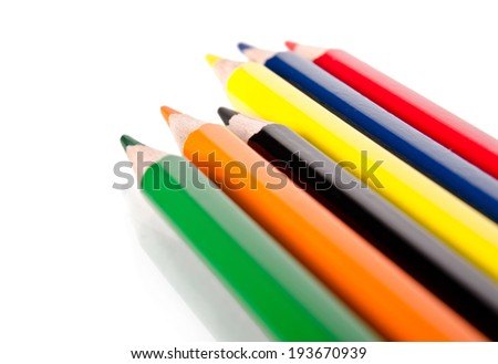 six colored pencils