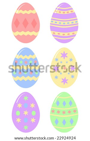 six colorful decorated Easter eggs - stock photo