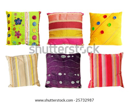 Six colorful decorative pillows isolated on white - stock photo