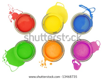 Six colorful paint cans with spilled paint isolated on white - stock photo
