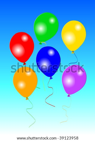 Six colorful party balloons on blue background