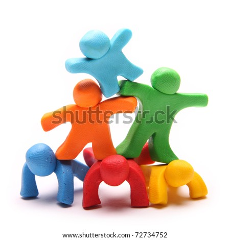 six colorful plasticine guys making a human pyramid - stock photo