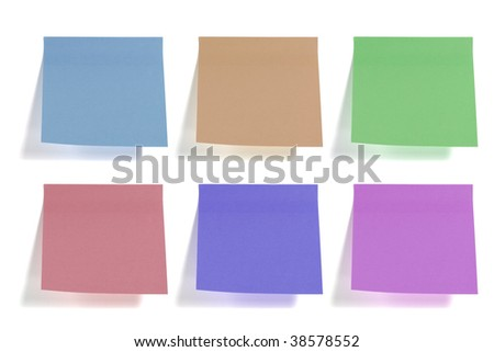 six colorful sticky papers isolated on white background