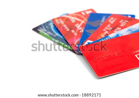 Six credit cards collection isolated on white - stock photo