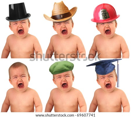 Six crying babies wearing different hat: Cowboy, fireman, tophat, beret, mortarboard, - stock photo
