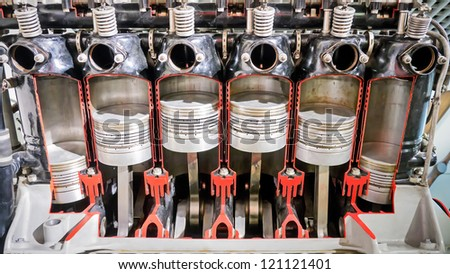 six cylinders of an antique plane-motor - stock photo