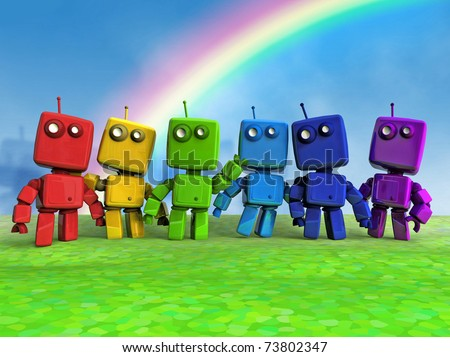 Six 3D Rainbow Robots together on Blue background - stock photo