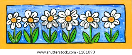 Six Daisies Illustration, Painting - stock photo
