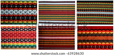 Six different embroidery  in one file 18mp. Traditional bulgarian embroidery ,used on covers ,dresses ,napkins , tableclodes.The russian,ukranian ,serbian,ungarian,turkish ,greek,serbian  are similar - stock photo