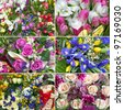 six different nice flower bouquet set background - stock photo