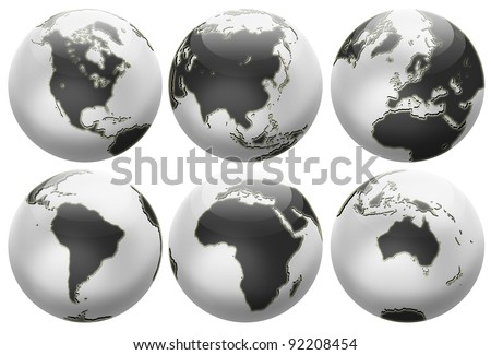 Six different positions globes isolated on white. In black and white colors. - stock photo