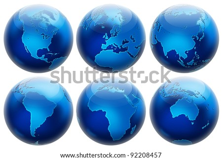 Six different positions globes isolated on white. In blue colors. - stock photo