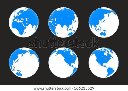 Six different positions of globes in blue and white colors. Isolated on black background.