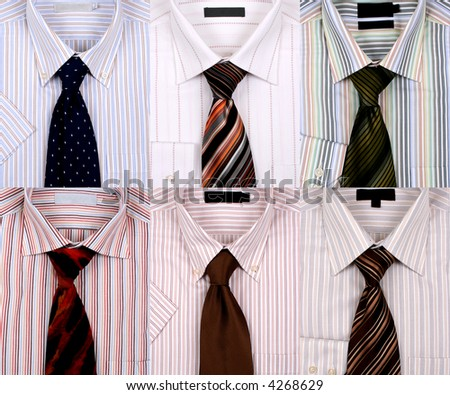 Six different shirts with different ties. - stock photo